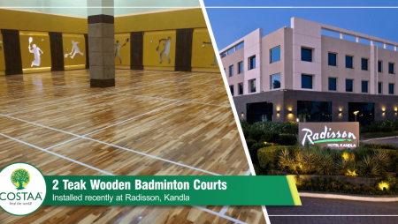 Costa Sports Systems is happy to share images of Two Teak Wooden Badminton Courts installed recently at Radisson Kandla